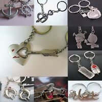 2pcs Lovers Couples Metal Keychain Key Ring Heart Friendship BFF I LOVE YOU Gift