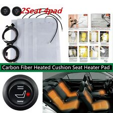 2 Seat Carbon Fiber Heated Cushion Seat Heater Pad Switch Kit 12V Seat Warmer