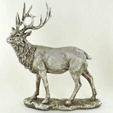 More details for antique effect silver sculpture stag statue deer ornament home decoration