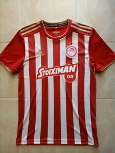 Olympiakos Football Golden Stripes Home Jersey Adidas 2018/2019 Official - MINT