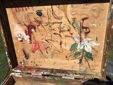Antique Oil Painters Art Box, Used Some Horse & Flower Art Inside Wood