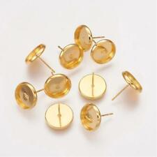 10 Ohrstecker Rohlinge für 12mm Cabochons,Farbe Gold