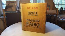 Antique Crosley Fiver Radio Shipping Box w Original Packing Slip-Great Go Along