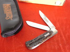 """Marble's Knives Bone Stag Jumbo 2 Blade Trapper 4-1/2"""" knife Mint In Box"""