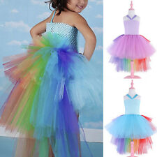 Girl Kid Fancy Tutu Skirt Dress Up Rainbow Unicorn Birthday Party Costume Outfit