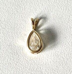 Stunning 10K Yellow Gold Clear Precious Stone Tear Drop Small Pendant