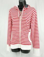 $79 Tommy Hilfiger Women's Cotton Red White Striped Zip-up Hoodie Large
