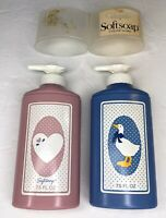 Vintage Softsoap Pump Dispenser Lot Country Designs Blue Pink Movi Prop Display