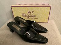 Brighton Womens York Black Leather Croc Mules Heels Shoes - 7.5M