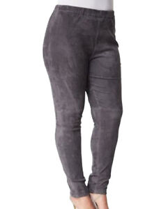 MARINA RINALDI Women's Grey Egregio Slim Fit Leather Pants $2120 NWT