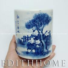 Chinese Porcelain Pen Holder Blue & White [Happy Kids Child] Painting Brush Pot