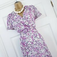 Country Casuals Midi Dress UK 12 Lilac Multi Floral Ditsy Print Wedding Occasion
