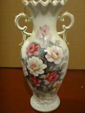 Ivory Rose Gold Vase, Japan, 14-inch tall, Double Handles EC Beautiful!