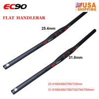 EC90 MTB Bike Flat/Riser Handlebar 31.8/25.4mm Full Carbon Fiber Bar End Plugs