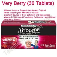 Very Berry Airborne Immune Support 36 Effervescent Tablet Vitamin C 1000mg +Zinc