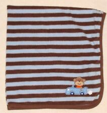 Carters Blue & Brown Stripe Baby Blanket Monkey in a  Car Fleece
