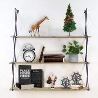 3-Tier Rustic Wood Floating Shelves Wall Mounted Hanging Rack Bookshelf Storage