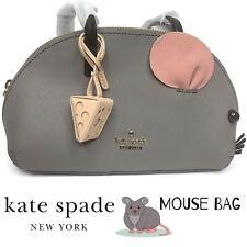 Kate Spade Rare Cats Meow Leather Gray Mouse Bag Animal Handbag Purse