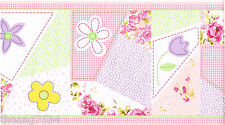 Patchwork Quilt Stitch Pink Gingham Purple Check Rose Floral Wall paper Border