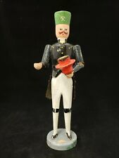 Vintage 1920's Erzgebirge German Wood Carved Soldier Miner Candle Holder 9.5""