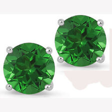 @@ Wholesale 925 Sterling Silver 1.50ct Created Emerald Round Stud Earrings