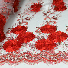 Embroidered Floral Sequin Lace Fabric by the Yard - Style 2868