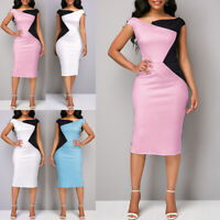 Elegant Women's Business Office Midi Dress Formal Bodycon Sheath Pencil Dresses