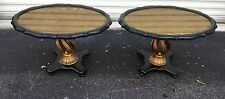 CHIC PAIR OF HOLLYWOOD REGENCY GROSFIELD HOUSE ERA GOLD LEAF TABLES