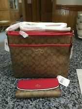 COACH F58297 & F57319 File Bag, Crossbody + Wallet. Khaki/Bright Pink . NWT
