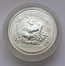 2003 AUSTRALIAN SILVER LUNAR YEAR OF GOAT 2 OZ 999 SILVER 2 DOLLARS COIN