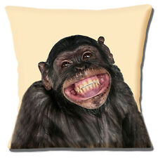 """NEW NOVELTY CHIMPANZEE SMILING PHOTO PRINT ON CREAM 16"""" Pillow Cushion Cover"""