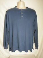 Pendleton Men's Size XL Long Sleeve Polo Shirt Blue 100% Cotton