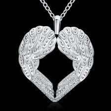 18'' Angel Wing Hand Heart 925 Sterling Silver Pendant Necklace Choker Women