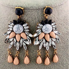 Hot Fashion Women Ear Jewelry Crystal Flower Gold Filled Dangle Stud Earrings