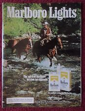 1981 Print Ad Marlboro Man Lights Cigarettes ~ Western Cowboy Crossing River