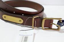 Polo Ralph Lauren Genuine Leather brass belt brown/tan preppy sz 38
