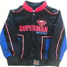 JH Design SUPERMAN MAN OF STEEL Coat Jacket Toddler Boys Size 5 Black Blue Red