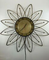 "Vintage Lux Wall Clock Electric 20"" Sunflower Starburst Atomic"