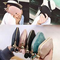 Women Fashion PU Leather Mini Wallet Zip Coin Purse Card Key Holder Clutch Bag