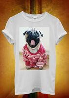Pug Christmas Jumper Funny Novelty Men Women Unisex T Shirt Tank Top Vest 1205