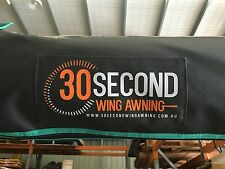 30 SECOND WING AWNING, FREE STANDING, 2.7M LONG, BLACK BAG, OSTRICH WING, 4X4