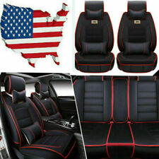 Deluxe Car Seat Cover 5-Seats Front+Rear Cushion PU Leather Universal Black&Red