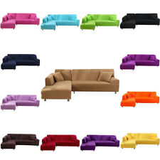 1 2 3 4 Seater L Shape Sofa Cover Solid Slipcover Elastic Stretch Lounge Cover