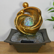 Small Indoor Stylised Couple And Ball Water Fountain With LED Light. New