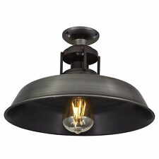 Vintage Industrial Style Barn Slotted Flush Mount Ceiling Light - Pewter