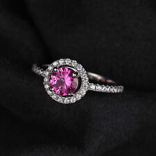 1.2ct Pink Sapphire Round Solitaire Ring  925 Sterling Silver Size 6 Women Hot