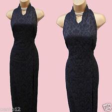 Karen Millen Jacquard nera vintage Dietro il Collo Stile Cinese Maxi Dress 10