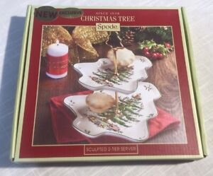 """New in box Spode Christmas Tree Sculpted 2-Tier Server Tray 8"""" x 10"""""""