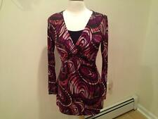 SIZE S - NEW $70.00 BISOU BISOU Jersey Style Black Pink Peach Brown Tunic Dress