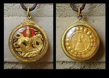 BUDDHA W/ DRAGON BUDDHIST THAI AMULET PENDANT GOLD RED & BLACK